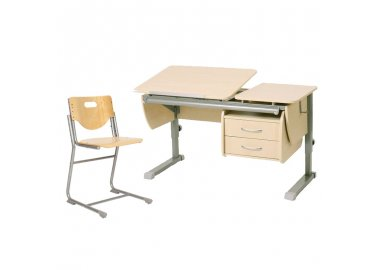 Комплект растущая парта Астек Твин +  растущий стул SF3