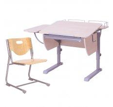 Комплект Астек растущая парта Колибри, с боковой и фронтальной полкой + стул SF3