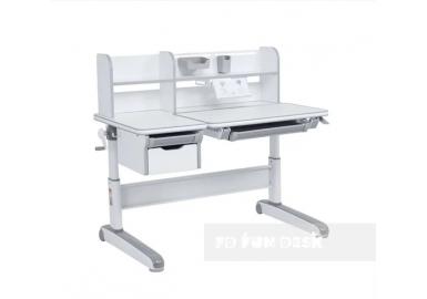 Парта-трансформер для школьника FunDesk Libro Grey с надстройкой и выдвижным ящиком